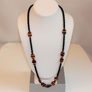 Vintage Black Glass Beads and Amber Tiger Necklace